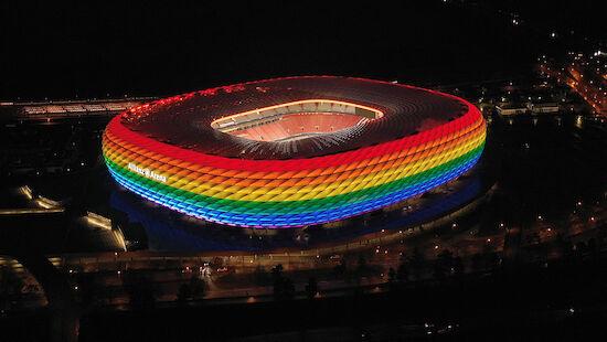 Beleuchtungs-Verbot - aber UEFA erstrahlt in bunt