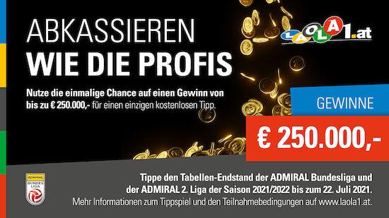 250.000-Euro-Tippspiel! Gewinne mit 1 Tipp!