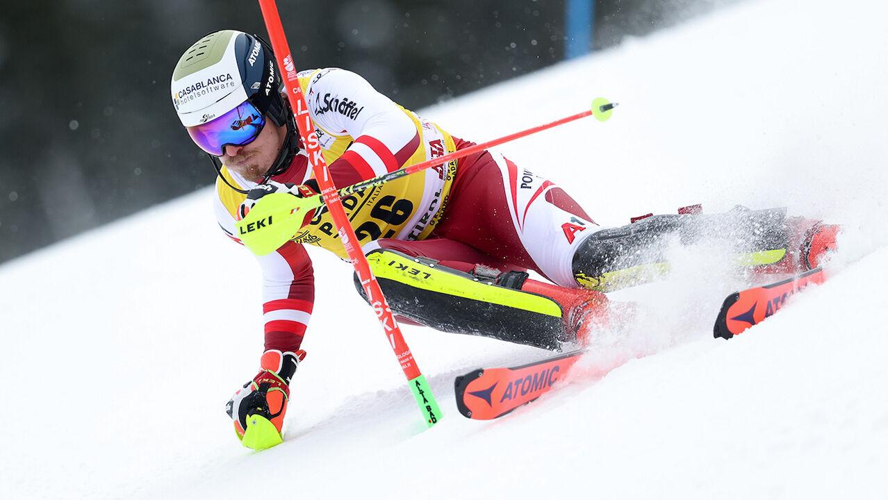 Feller Und Schwarz In Alta Badia Slalom Am Podest Wintersport Ski Alpin Weltcup Herren